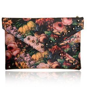 Bags - Floral Print Studded Envelope Bag